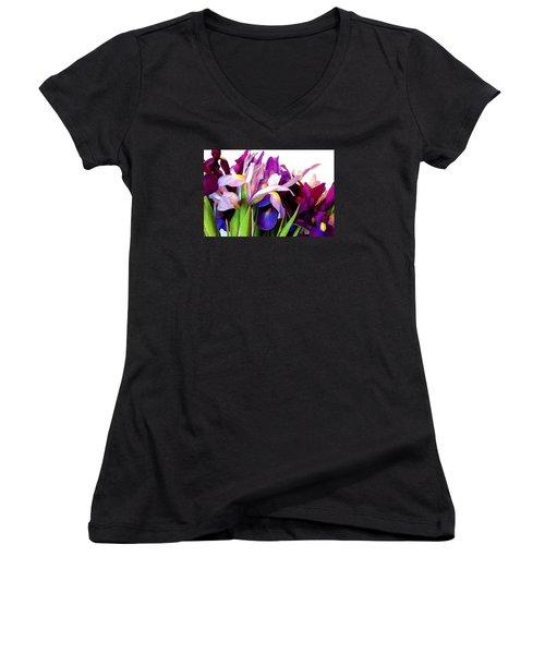 Iris Bouquet Women's V-Neck T-Shirt (Junior Cut) by Janis Nussbaum Senungetuk