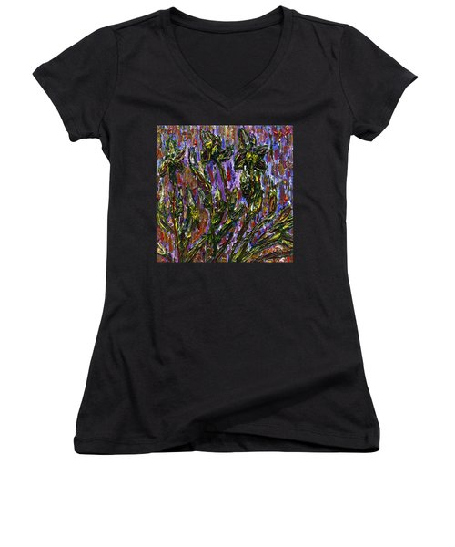 Women's V-Neck T-Shirt (Junior Cut) featuring the painting Irises Carousel by Vadim Levin