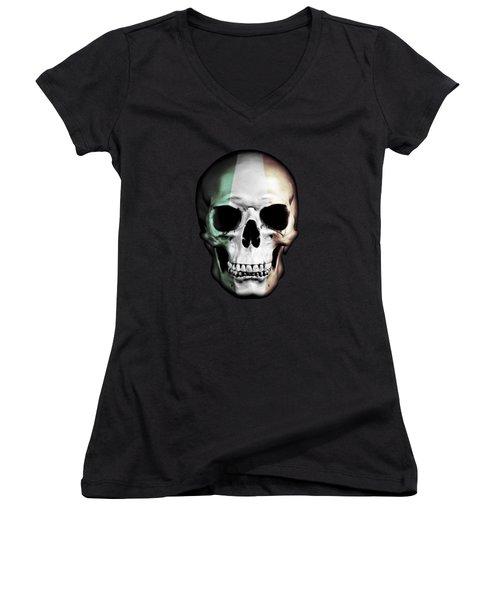 Women's V-Neck T-Shirt (Junior Cut) featuring the digital art Irish Skull by Nicklas Gustafsson