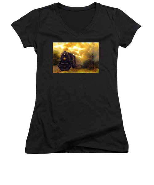 Women's V-Neck T-Shirt (Junior Cut) featuring the mixed media Iron Horse by Aaron Berg
