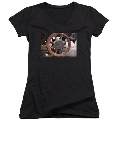 Iron Train Wheel Women's V-Neck T-Shirt (Junior Cut) by Aidan Moran
