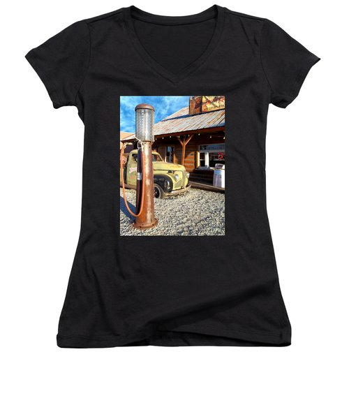Is That You - Route 66 California Women's V-Neck T-Shirt (Junior Cut) by Glenn McCarthy Art and Photography