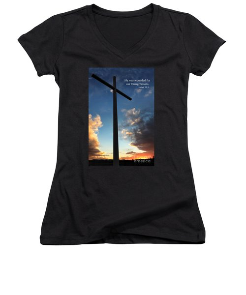 Isaiah 53-5 Women's V-Neck (Athletic Fit)