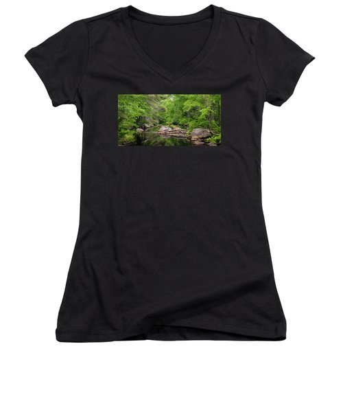 Isinglass River, Barrington, Nh Women's V-Neck T-Shirt (Junior Cut) by Betty Denise