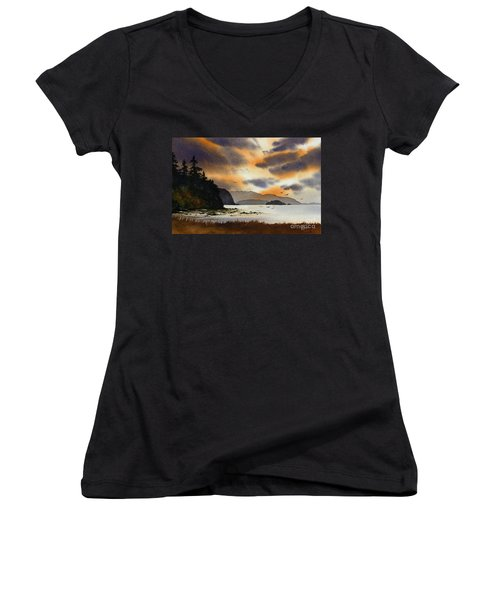 Women's V-Neck T-Shirt (Junior Cut) featuring the painting Islands Autumn Sky by James Williamson