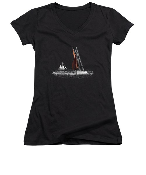 Isolated Yacht Carrick Roads On A Transparent Background Women's V-Neck T-Shirt (Junior Cut) by Terri Waters