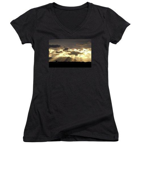 Israeli Desert Sunrise At Timna Women's V-Neck T-Shirt (Junior Cut) by Yoel Koskas