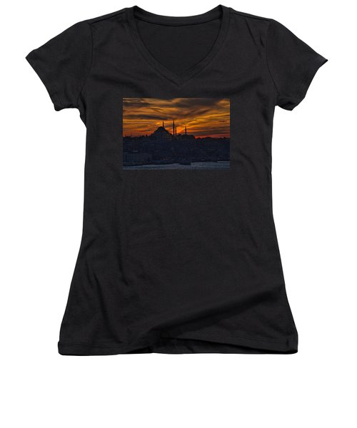 Istanbul Sunset - A Call To Prayer Women's V-Neck T-Shirt (Junior Cut) by David Smith