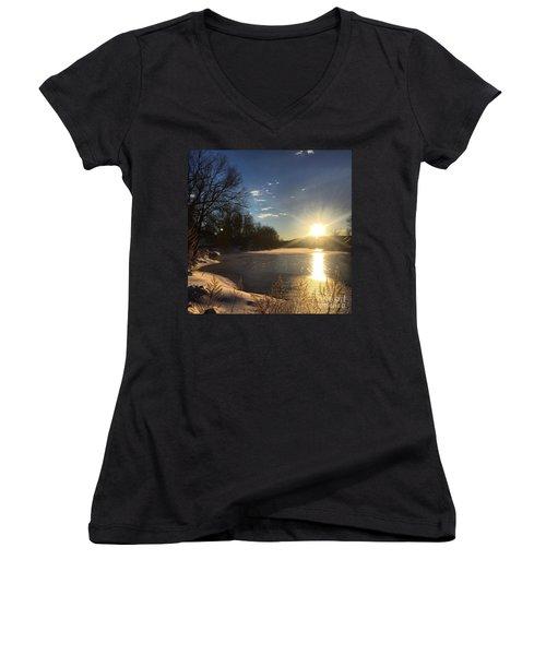 iSunset Women's V-Neck T-Shirt (Junior Cut) by Jason Nicholas