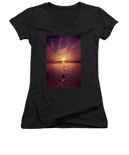 Women's V-Neck T-Shirt (Junior Cut) featuring the photograph It Is Then That I Carried You by Phil Koch