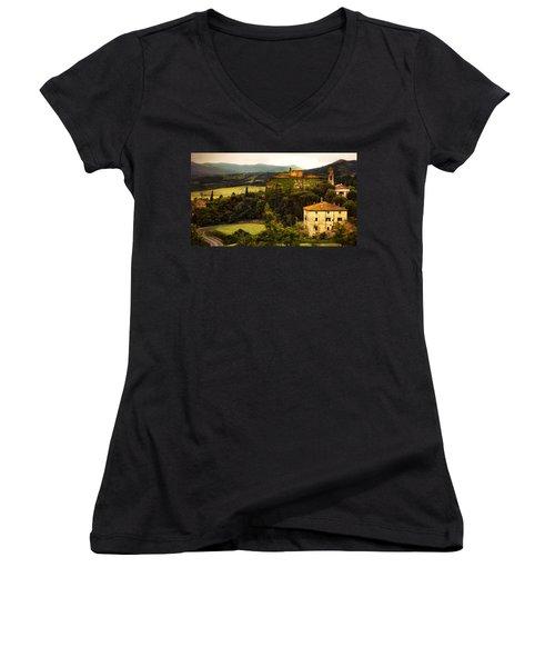 Italian Castle And Landscape Women's V-Neck T-Shirt (Junior Cut) by Marilyn Hunt