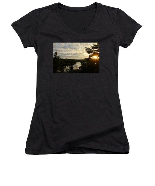 It's A Beautiful Morning Women's V-Neck T-Shirt (Junior Cut) by Debbie Oppermann