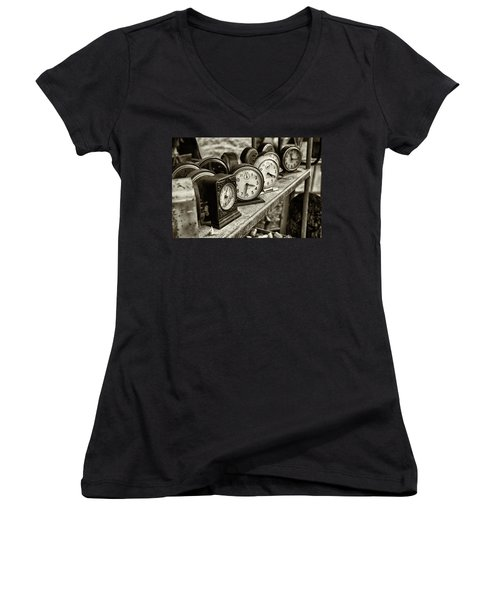 Women's V-Neck T-Shirt (Junior Cut) featuring the photograph It's About Time by John Hoey