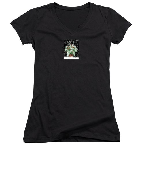 Women's V-Neck T-Shirt (Junior Cut) featuring the painting It's Snowing by Jean Pacheco Ravinski