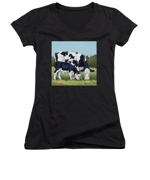 Ivory And Calf Mini Painting  Women's V-Neck (Athletic Fit)