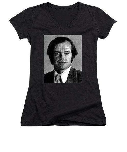 Jack Nicholson Portrait Women's V-Neck (Athletic Fit)