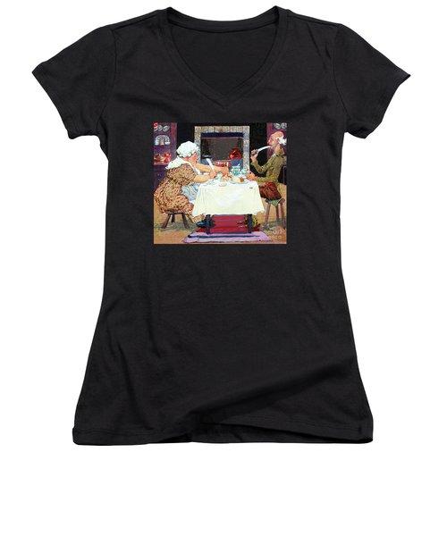 Jack Sprat Vintage Mother Goose Nursery Rhyme Women's V-Neck T-Shirt (Junior Cut)
