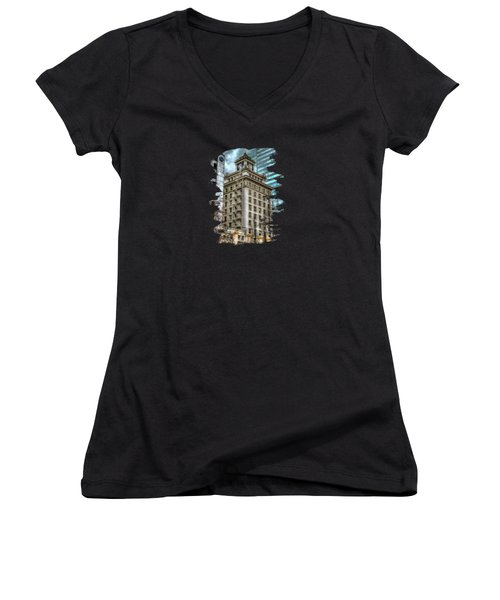 Jackson Tower Portland Oregon Women's V-Neck T-Shirt (Junior Cut) by Thom Zehrfeld