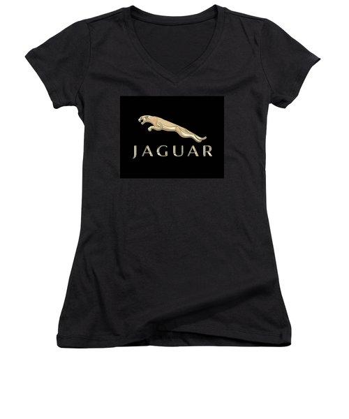 Jaguar Car Emblem Design Women's V-Neck (Athletic Fit)