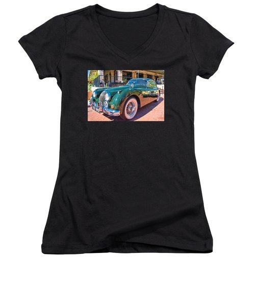 Women's V-Neck T-Shirt (Junior Cut) featuring the photograph Jaguar Xk Classic by Dan McManus