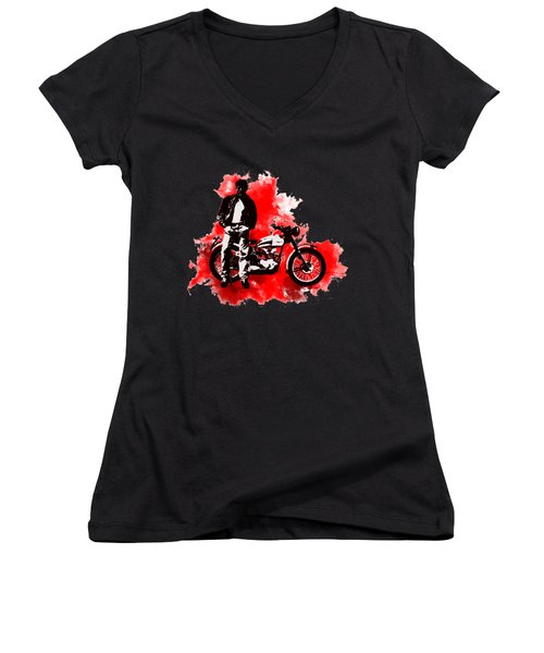 James Dean And Triumph Women's V-Neck T-Shirt (Junior Cut)