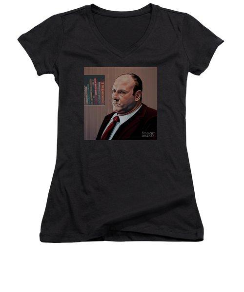 James Gandolfini Painting Women's V-Neck T-Shirt (Junior Cut) by Paul Meijering