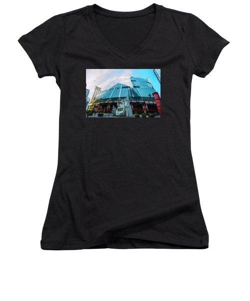 James R. Thompson Center Chicago Women's V-Neck T-Shirt (Junior Cut) by Deborah Smolinske