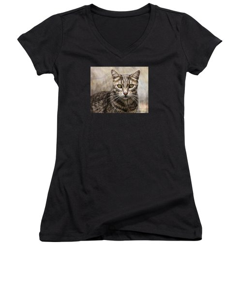 Women's V-Neck T-Shirt (Junior Cut) featuring the digital art Janie's Kitty by Rhonda Strickland