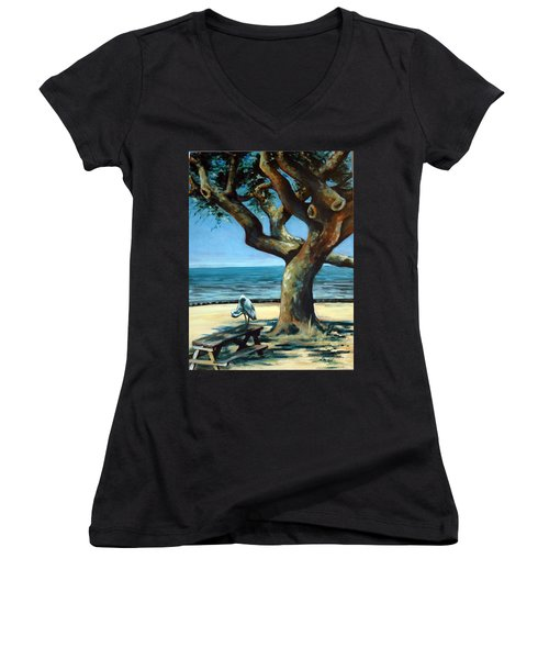 Women's V-Neck T-Shirt (Junior Cut) featuring the painting January Afternoon by Suzanne McKee