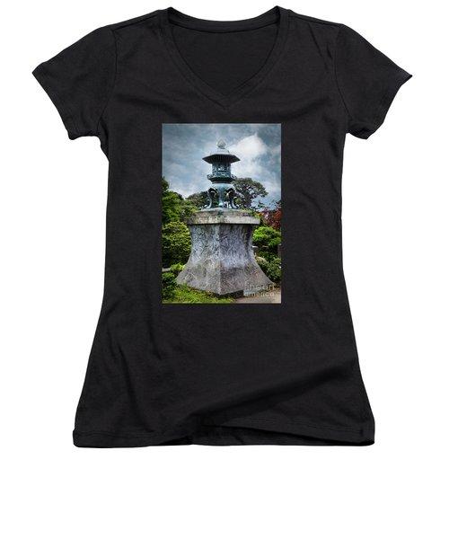 Japanese Garden Women's V-Neck T-Shirt (Junior Cut) by Judy Wolinsky