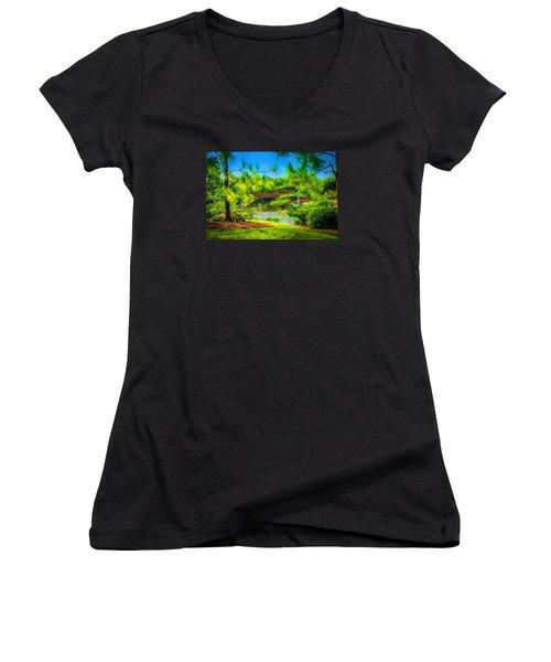 Japanese Gardens  Women's V-Neck T-Shirt (Junior Cut) by Louis Ferreira