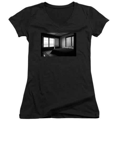 Japanese Style Room At Manago Hotel Women's V-Neck T-Shirt (Junior Cut) by Lori Seaman