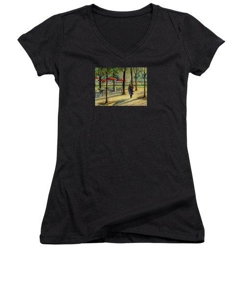 Jardin Des Tuileries In October Women's V-Neck T-Shirt (Junior Cut)