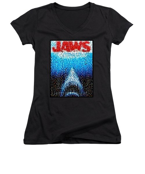 Jaws Horror Mosaic Women's V-Neck (Athletic Fit)
