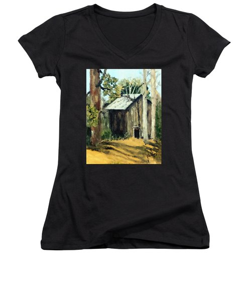 Women's V-Neck T-Shirt (Junior Cut) featuring the painting Jd's Backker Barn by Jim Phillips
