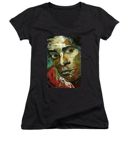 Jean-michel Basquiat Women's V-Neck T-Shirt (Junior Cut) by Helen Syron