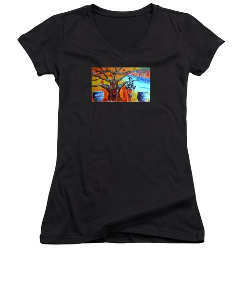Women's V-Neck T-Shirt (Junior Cut) featuring the painting Jeanilia by Fania Simon