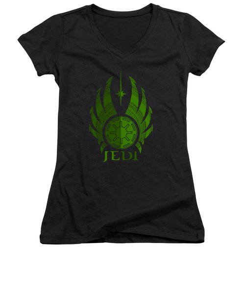 Jedi Symbol - Star Wars Art, Green Women's V-Neck (Athletic Fit)