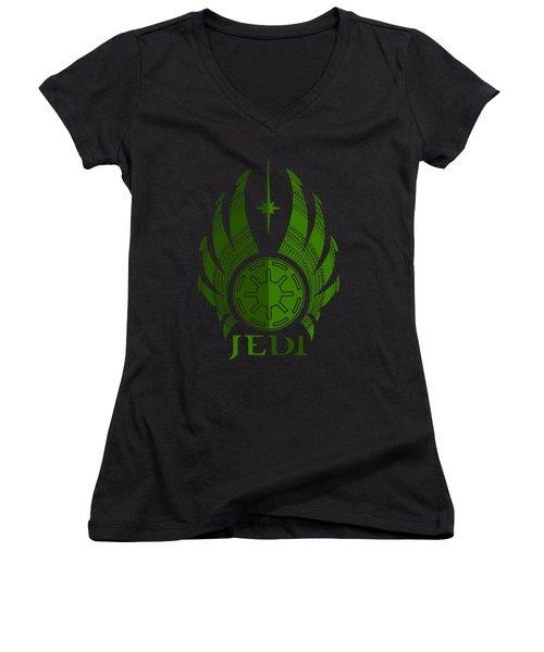Jedi Symbol - Star Wars Art, Green Women's V-Neck