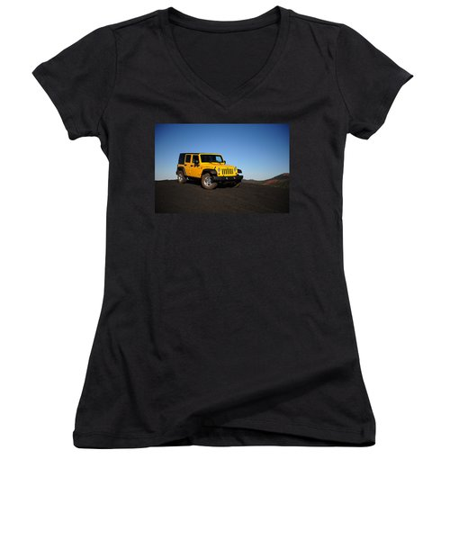 Jeep Rubicon In The Cinders Women's V-Neck (Athletic Fit)