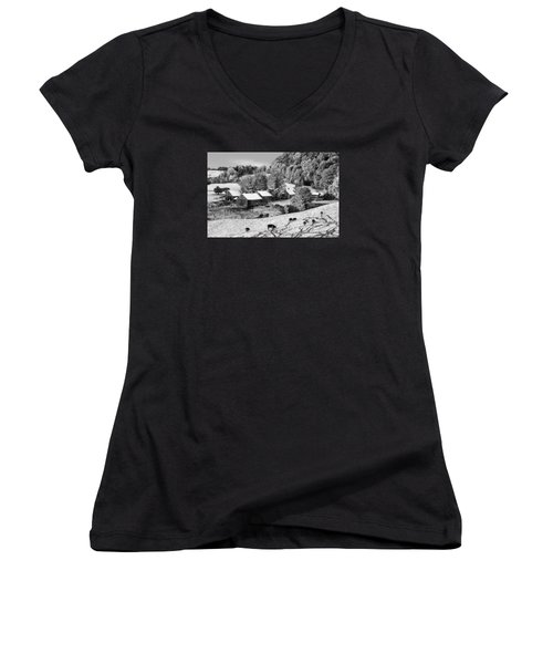 Women's V-Neck T-Shirt (Junior Cut) featuring the photograph Jenne Farm In Autumn Black And White Scenic Landscape by Betty Denise