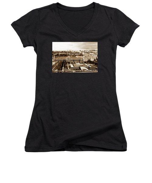 Jeronimos Monastery In Sepia Women's V-Neck T-Shirt (Junior Cut) by Lorraine Devon Wilke
