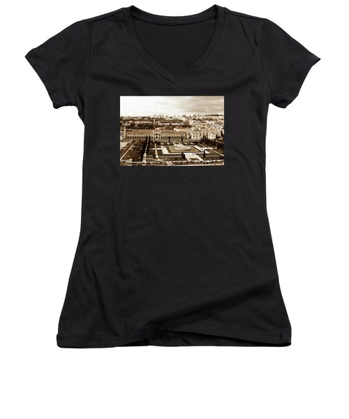 Jeronimos Monastery In Sepia Women's V-Neck T-Shirt