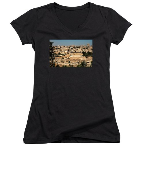 Women's V-Neck featuring the photograph Jerusalem by Mae Wertz