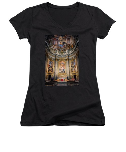 Women's V-Neck T-Shirt (Junior Cut) featuring the photograph Jesuit Church Rome Italy by Joan Carroll