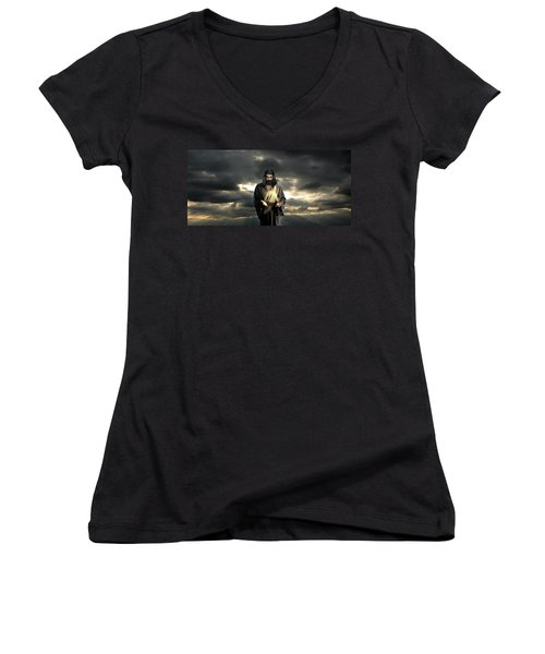 Jesus In The Clouds Women's V-Neck