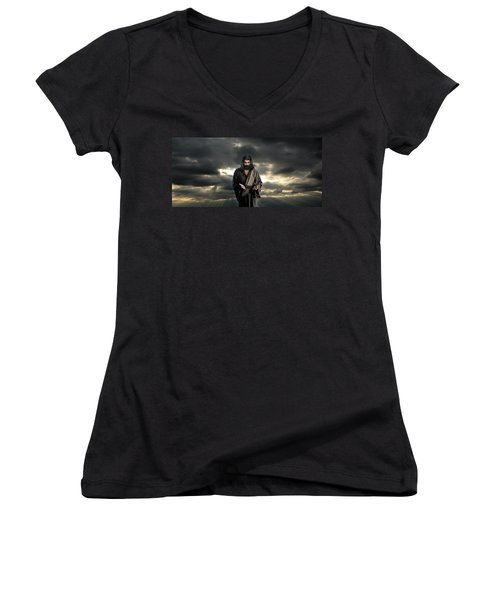 Jesus In The Clouds With Glory Women's V-Neck
