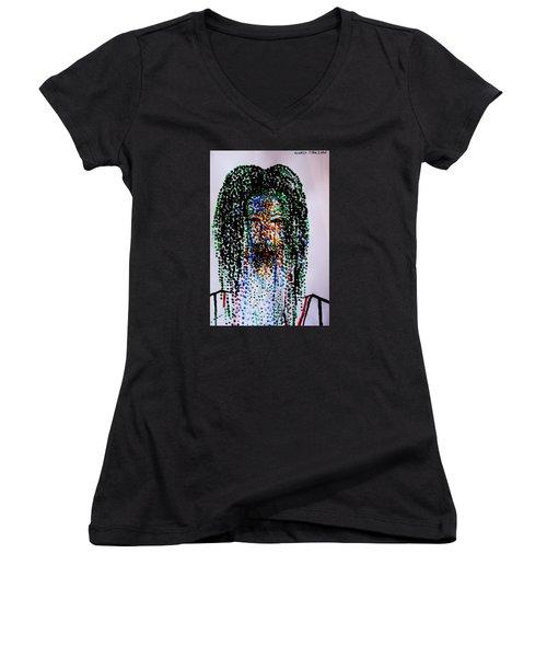 Jesus Lion Of Judah Women's V-Neck T-Shirt (Junior Cut) by Gloria Ssali