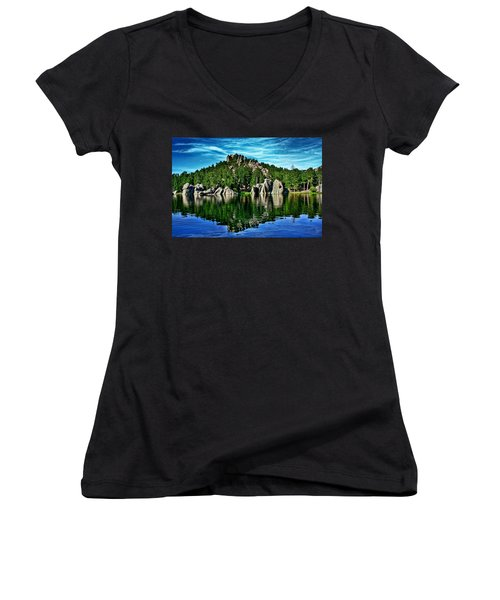 Jewel Of The Black Hills Women's V-Neck T-Shirt (Junior Cut) by Ellen Heaverlo
