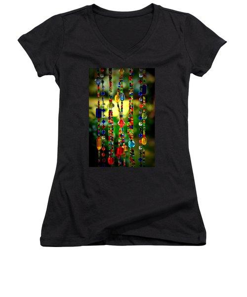 Jewels In The Sun Women's V-Neck T-Shirt (Junior Cut) by Debra Martz